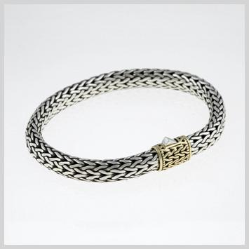 100191 JOHN HARDY WOMEN's Classic Chain Gold & Silver Medium Bracelet, Size 7.5