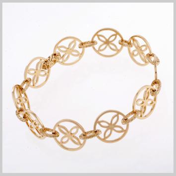 140077 JOHN HARDY 18K Gold Kawung Single Row Bracelet, Size M