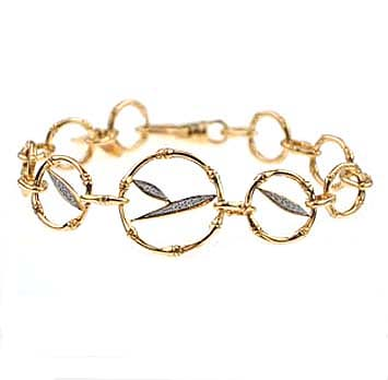 144258 JOHN HARDY 18K Gold Bamboo Round Bracelet with Diamond Pave (0.10ct.) Size M