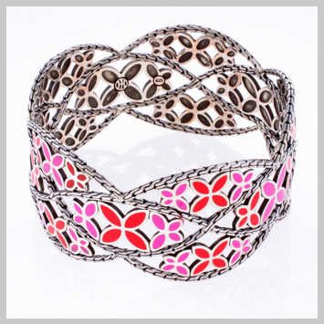 143306 JOHN HARDY Kawung Silver Red and Pink Enamel Coloway Wide Bangle Size M