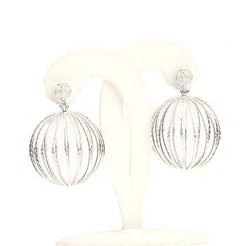 144109 JOHN HARDY Langit Silver Large Ball Earrings with Diamond Pave