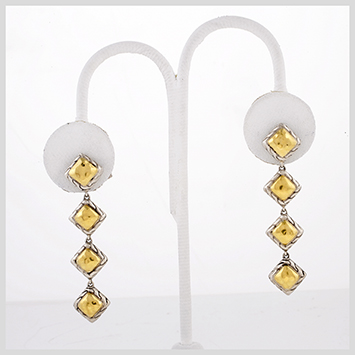 118773 JOHN HARDY WOMEN's Palu 22K Gold & Silver Four Square Drop Earrings