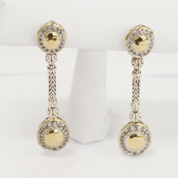 122497 JOHN HARDY 22K Hammered Gold & Silver White Sapphire Oval Long Drop Earrings (1.88ct)