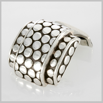 107597 JOHN HARDY MEN's Dot Silver Hi-Way Cufflinks