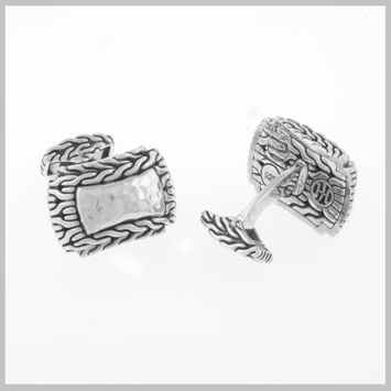124929 JOHN HARDY MEN's Palu Silver Hi-Way Cufflinks