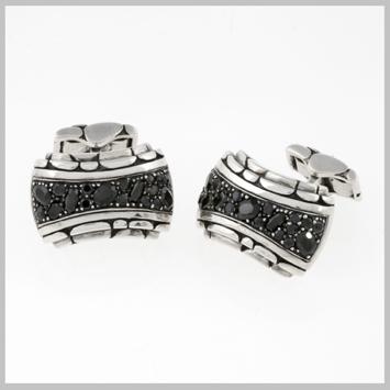 116536 JOHN HARDY MEN's Kali Silver Lava Hi-Way Cufflinks with Black Sapphire