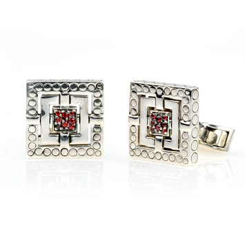 148464 JOHN HARDY Men's Batu Silang Silver Square Cuff Links with Red Sapphire
