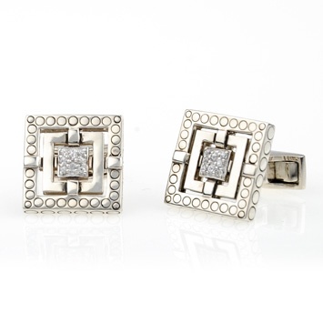 148462 JOHN HARDY Men's Batu Silang Silver Square Cuff Links with White Sapphire