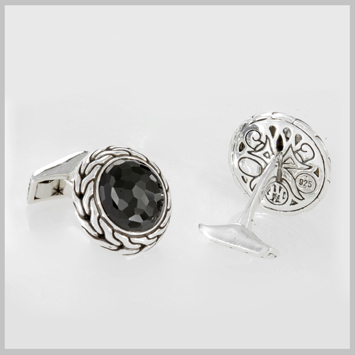 124918 JOHN HARDY Men's Sultan Silver Round Cufflinks with Black Chalcedony
