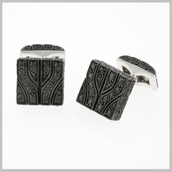 125708 JOHN HARDY MEN's Classic Chain Raja Silver Studded Square Cufflinks with Black Sapphire