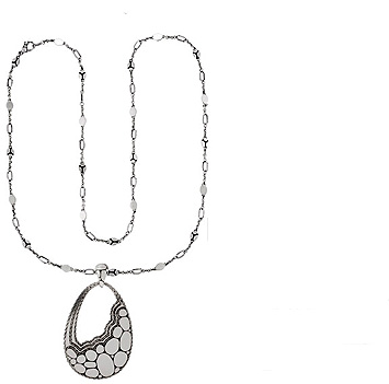 160850 JOHN HARDY WOMEN's Kali Zen Silver Large Drop Pendant- on Link Sautoir Necklace Size 36