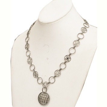 141069 JOHN HARDY Kawung Silver Medium Round Pendant on Circle Sautoir Necklace Size 24