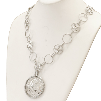 142138 JOHN HARDY Kawung Silver Large Round Pendant on Circle Sautoir Necklace, Size 24""