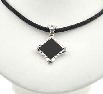 160094 JOHN HARDY Men's Naga Silver Black Leather Diagonal Square Pendant on Black Leather Cord Size 18