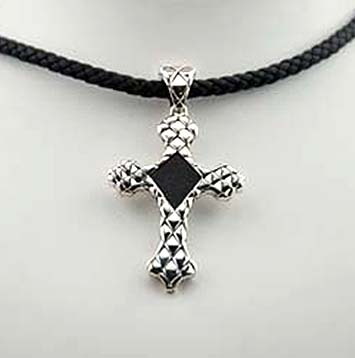 160096 JOHN HARDY Men's Naga Silver Black Leather Medium Cross Pendant on Black Leather Cord Size 18