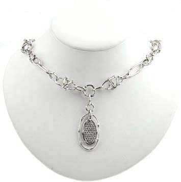 146169 JOHN HARDY Bamboo Silver Oval Pendant with Diamond Pave on Link Necklace (0.70ct.), Size 18""