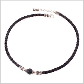 137703 JOHN HARDY Men's Batu Dot Nuansa Silver Black Chalcedony Single Bead Pendant on Black Leather Cord Necklace Size 18