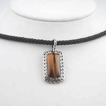 145538 JOHN HARDY Men's Sultan Silver Small Dog Tag Pendant with Tiger's Eye on Black Leather Cord Size 18