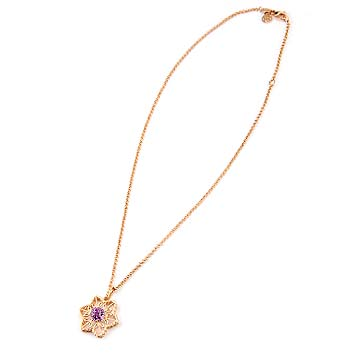142129 JOHN HARDY Batu Padi 18K Rose Gold Star Pendant with Rose de France on Chain Necklace Size 16