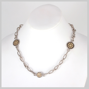 136362 JOHN HARDY Dot Gold and Silver Round Sautoir Necklace, Size 18""