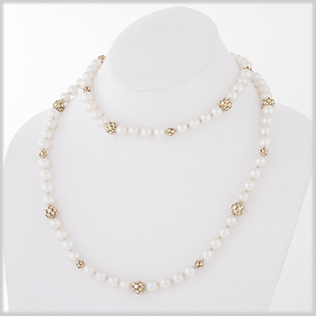 125435 JOHN HARDY Dot Gold & Silver Pearl Ball Station Sautoir Necklace Size 36 Inches
