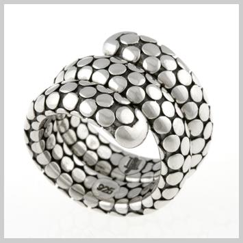 114821 JOHN HARDY WOMEN's Dot Silver Double Coil Ring, Size 7