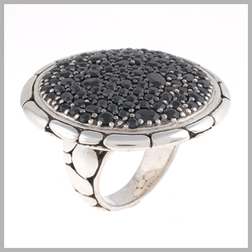 136266 JOHN HARDY WOMEN's Kali Silver Purelavafire Large Round Ring with Black Sapphire, Size 7