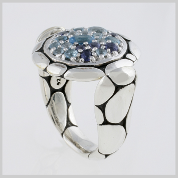 135747 JOHN HARDY WOMEN's Kali Silver Purelavafire Small Round Ring Sea Colorway with Blue Topaz, Iolite and Aquamarine, Size 7