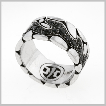 118483 JOHN HARDY MEN's Kali Silver Lava Band Ring with Black Sapphire, Size 9