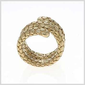 115893 JOHN HARDY 18K Yellow Gold Dot Double Coil Ring with Titanium Spring, Size 7
