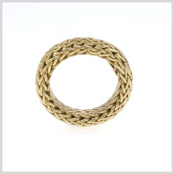 105591 JOHN HARDY 18K Yellow Gold Soft Woven Chain Medium Ring, Size 7