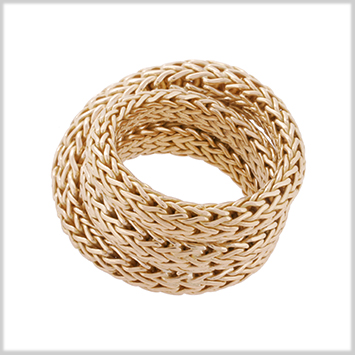 122512 JOHN HARDY WOMEN's Classic Chain 18K Gold Woven Overlap Ring, Size 5