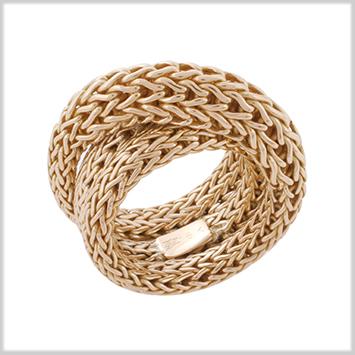 122513 JOHN HARDY WOMEN's Classic Chain 18K Gold Woven Overlap Ring, Size 7