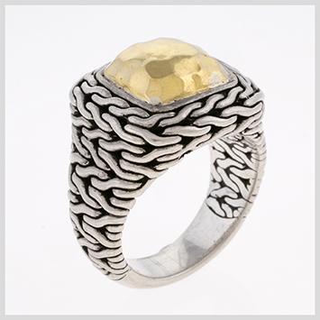 116587 JOHN HARDY WOMEN's Palu 22K Gold & Silver Small Square Ring, Size 7