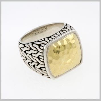 118487 JOHN HARDY MEN's Palu 22K Gold & Silver Square Ring, Size 11