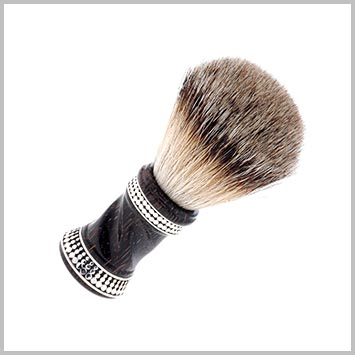 104301 JOHN HARDY Dot Silver and Twisted Black Palm Wood Handle Shaving Brush